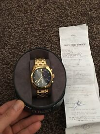 Gold Citizen bracelet watch very good condition like new worn one time £100