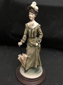 Vittorio Tessaro Lady with Parasol Figurine - Made in Italy