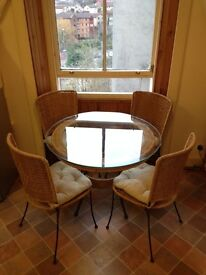 Dining Table & 4 Chairs Set Seagrass Glass Metal 1m Diameter Kitchen Furniture