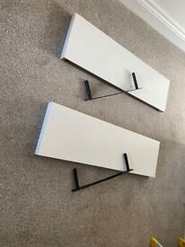 White Floating shelves x 2 with brackets