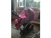 3 in 1 baby girls isafe pram and carseat