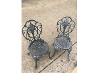 Two Metal Garden Chairs with aged finish