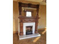 Oak and marble fireplace – excellent condition