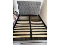 Grey velvet double bed