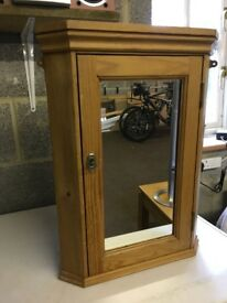 Pine Bathroom Corner Cabinet with Mirror