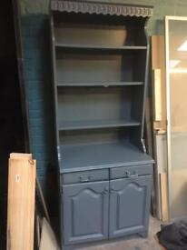 Pine dresser painted in grey blue
