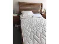 Beautiful oak double bed and matching bedside tables, less than a year old
