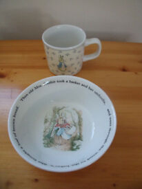 Wedgwood Peter Rabbit 1993 bowl, dish & 1996 cup, mug. Excellent condition. £6 ovno each or £10 both