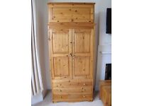Wood Bedroom furniture 2 wardrobes, dresser, 2 bedside tables, chest of drawers, ottoman & headboard