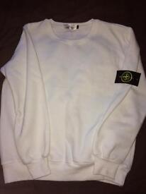 New Men's White Stone Island Sweater XS