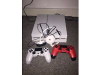 Ps4 white x2 controllers headset