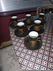 1960's DENBY ARABESQUE 6 COFFEE CUPS & SAUCERS - RETRO