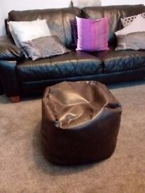 Faux brown leather beanbag pouffee