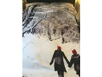WINTER SCENE DOUBLE QUILT COVER AND 2 PILLOW CASES