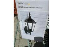 Black Matt Six sided outdoor wall lantern with sensor