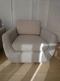 2 x Habitat Leather Arm Chairs - Putty Colour (perfect condition - with labels -as new)