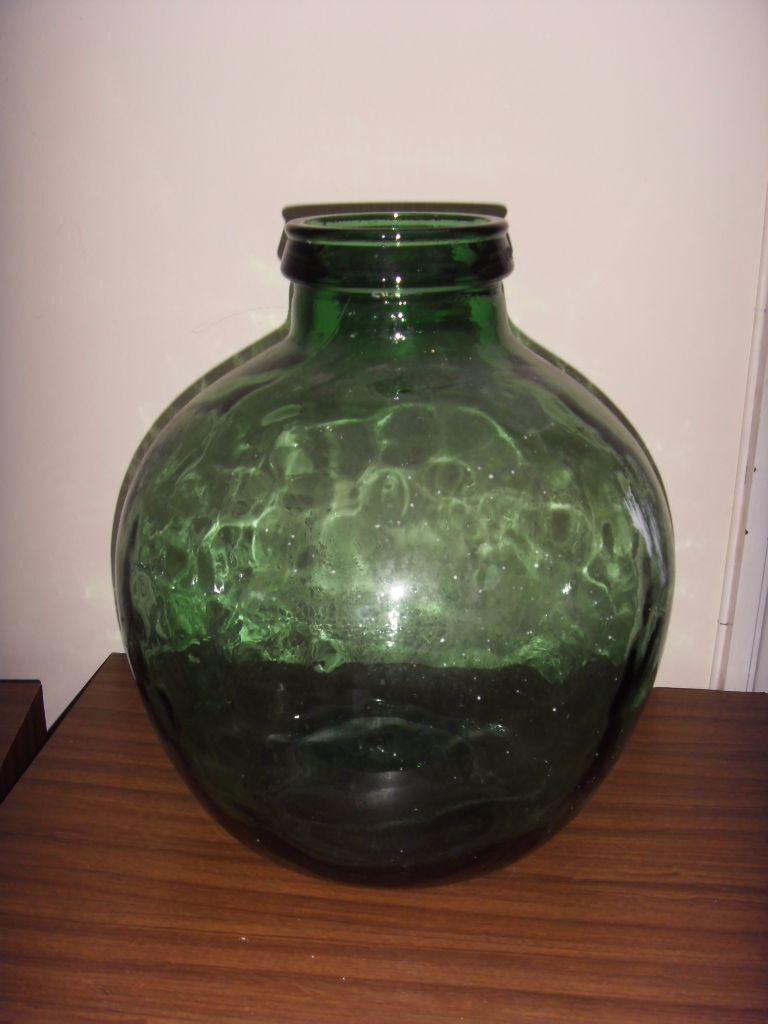 VERY LARGE GREEN GLASS ROUND VASE GLOBE BOTTLE JAR