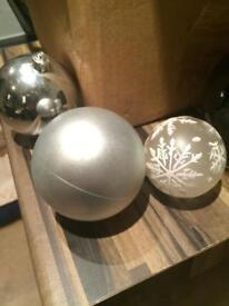 Black, silver and white Christmas tree decorations