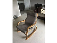 Nursery rocking chair - Chocolate brown fabric with light wood