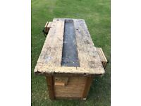 Rustic old school workbench. Great condition. Comes with Fitted vintage RECORD vice.