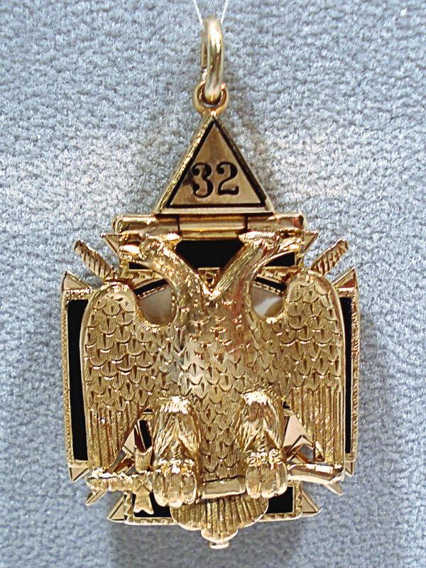 SOLID 14K YELLOW GOLD ENAMELED KNIGHTS TEMPLAR 6-SIDED MASONIC FOB