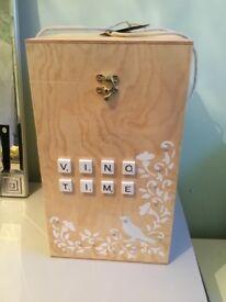 Wooden 4 bottle wine box carrier New