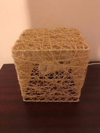 Modern artistic-looking square beige twine lamp GREAT condition