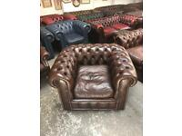 Fantastic super rare vintage brown leather chesterfield club chair UK delivery