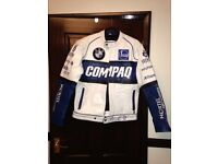 Leather Jacket motorbike style, fits XS/S with sponsor logos