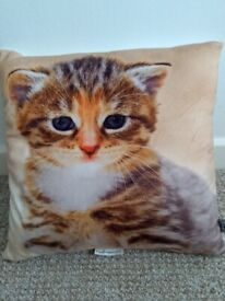 New without tags Small Plush Animal Print Kitten Cushion 28 x 28cms