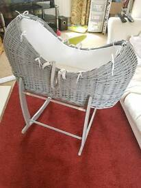 Clair de lune Moses basket and stand in grey