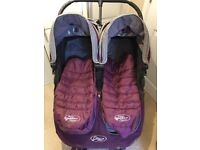 Purple Double Mini City Jogger, 2x cosytoes, rsincover & carrycot adapters