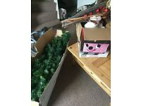 6 foot Christmas Tree with a box of decorations