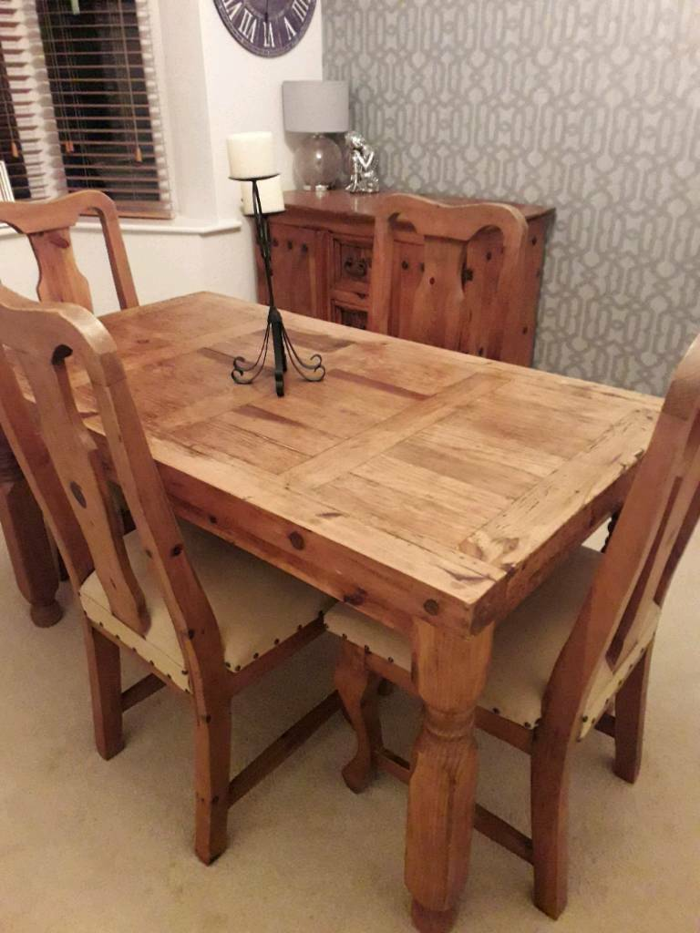 46f457a7c2e6 Mexican Pine Wooden Dining Table and chairs