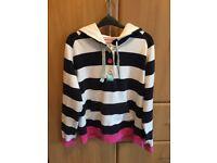 Joules ladies navy & white stripe hoodie size 16 EUC