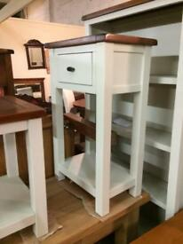 Stone and walnut telephone table