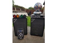 DJ Equipment, disco lights, amplifier, cd player decks, speakers.