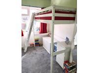 White wooden single high sleeper bed