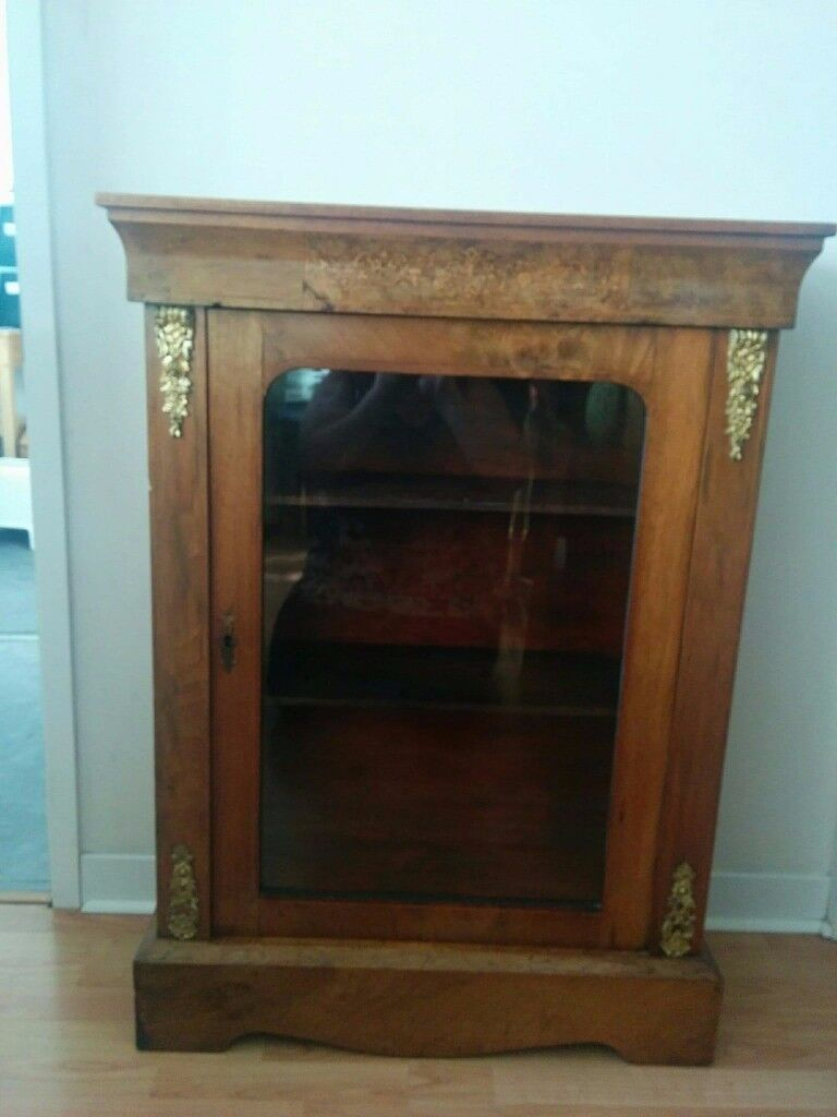Antique Burr Walnut Inlaid Pier Cabinet with two shelves