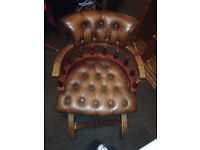 Captains Chesterfield Brown Leather Chair