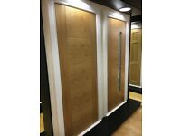 Bifold option for pre finished oak fire doors with frosted glass FD30