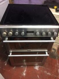 Stainless steel stoves 60cm ceramic hub electric cooker grill & double fan assisted ovens with guar