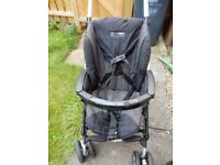 Mamas and Papas Pushchair with carrycot and rain cover.