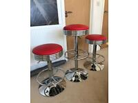 3x Red American retro bar stools. Excellent condition