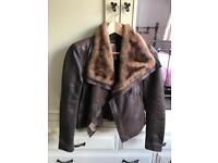 Morgan stunning leather and fur jacket size 8