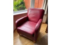 Red Leather Armchair Good Condition