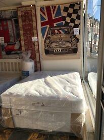 New, Posturepedic Mattress on a 4 drawer divan base. Famous Brand.