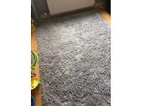 Large blue shaggy rug