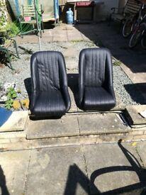Classic Mini bucket seats, black vinyl