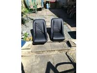Classic Mini bucket seats, black vinyl